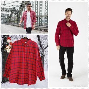 💰3x20 John W Red Fleece Plaid Shirt Jacket Sz XL